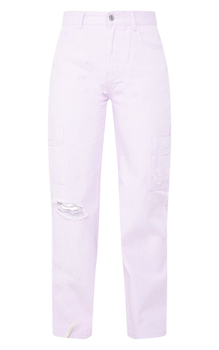 Lilac Wide Leg Ripped Cargo Jeans 5