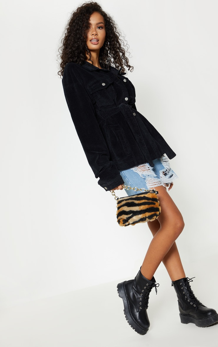 Black Cord Belted Waist Jacket 4