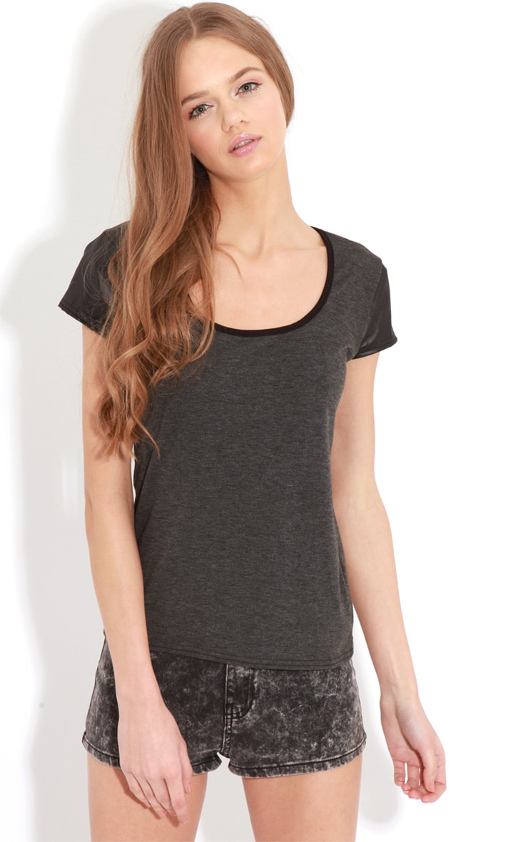 Cleo Charcoal Contrast Sleeve Top 1