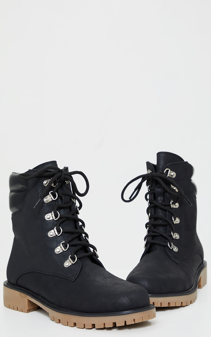 Black Suede Contrast PU Back Eyelet Lace Up Boots 3