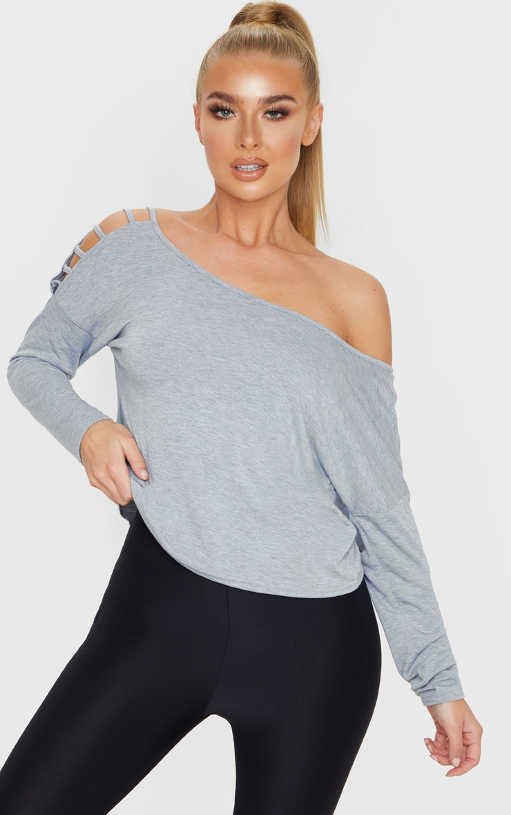 Grey Marl Jersey Off The Shoulder T Shirt 1