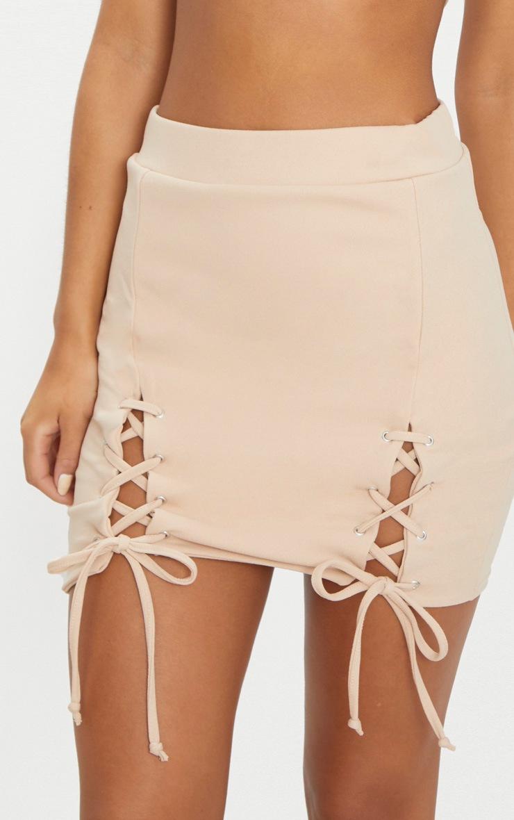 Stone Double Split Lace Up Mini Skirt  5