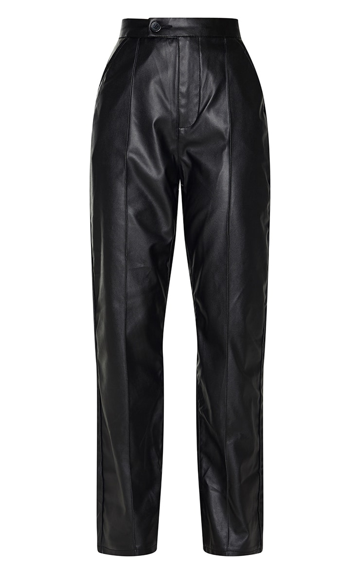 Black Faux Leather Pintuck Detail Straight Leg Trousers 5