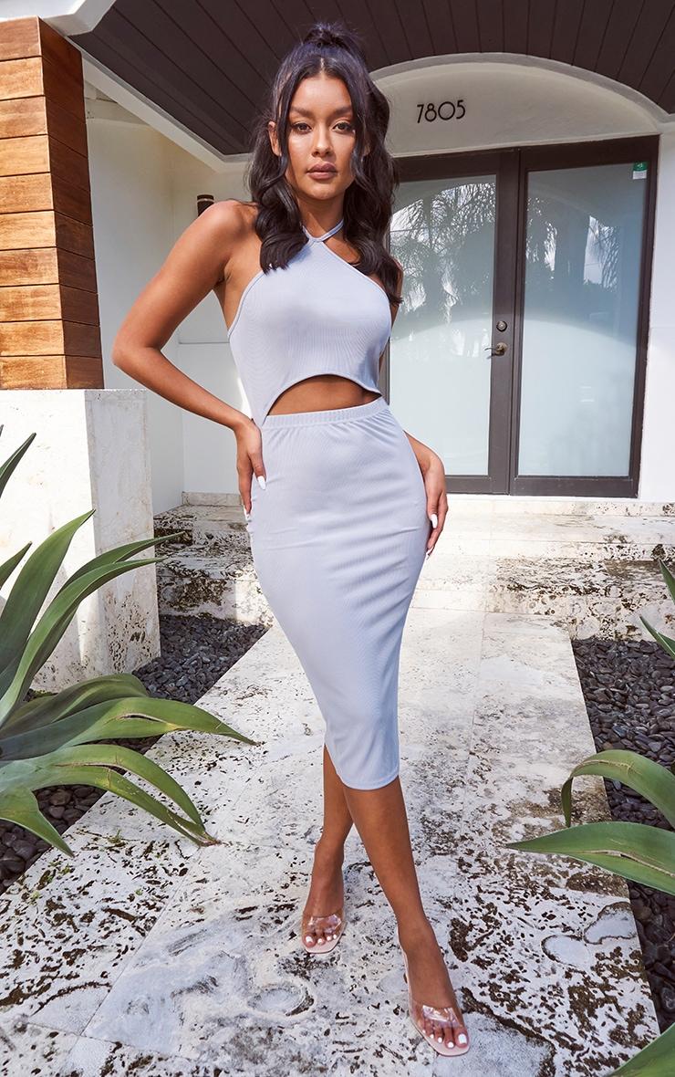Grey Halterneck Cut Out Midi Dress 1