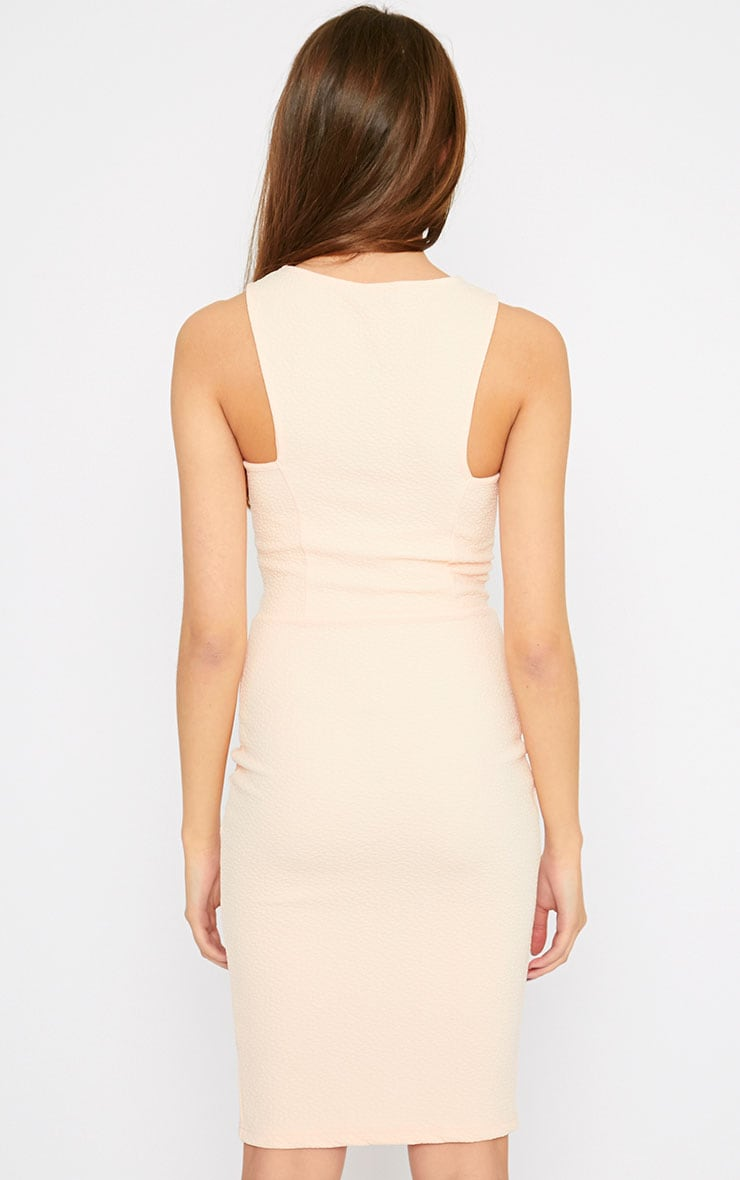 Rumi Nude Zip Front Bodycon Dress 2