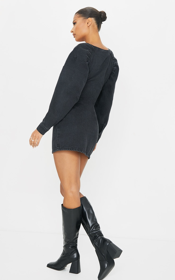 Washed Black Zip Front Ruched Detail Mini Denim Dress 2