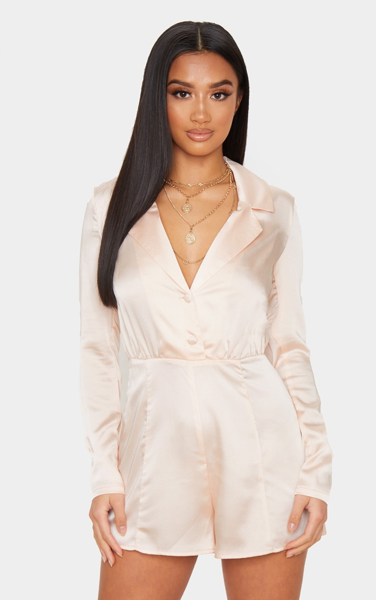 Petite Champagne Button Front Long Sleeve Satin Playsuit 1