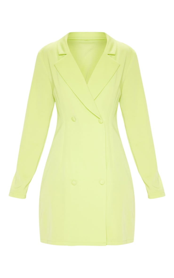 Neon Lime Long Sleeve Blazer Dress 3