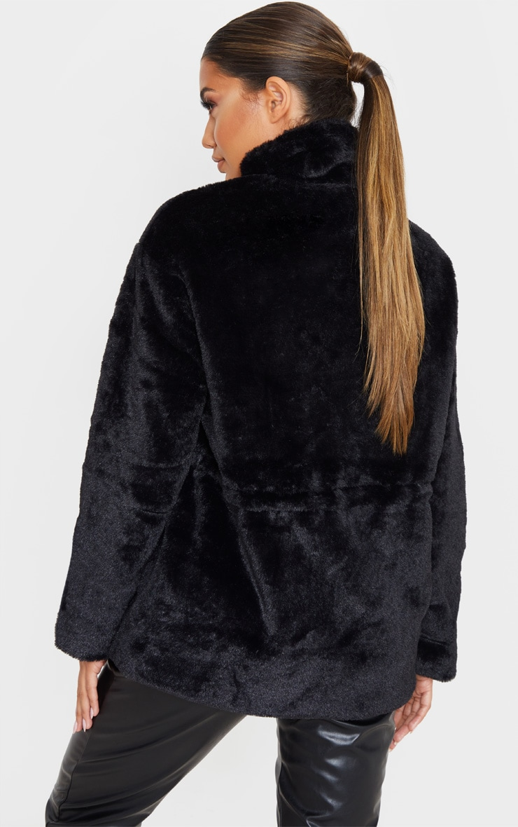 Black Faux Fur Gathered Waist Jacket 2