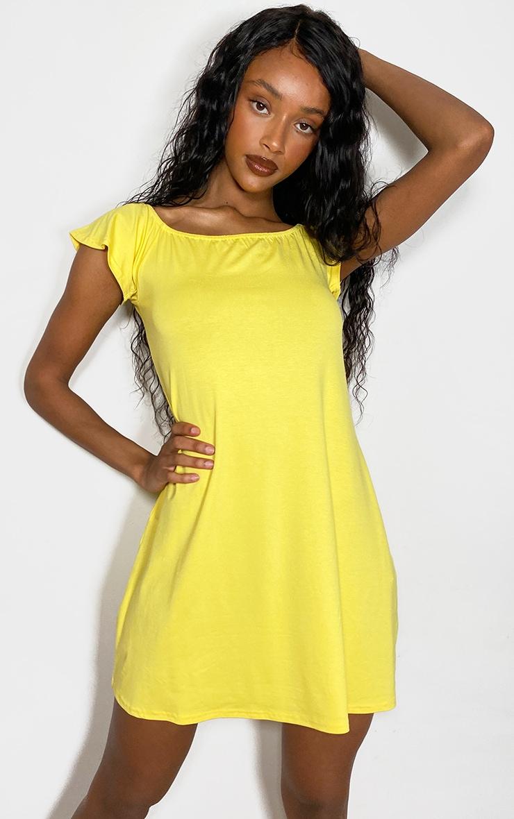 Yellow Jersey Bardot Shift Dress 1