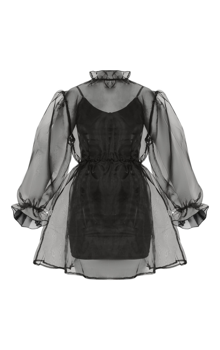 Black Organza Puff Sleeve Smock Dress 3