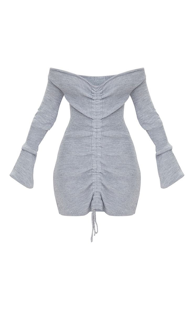 Grey Ruched Knit Dress 3