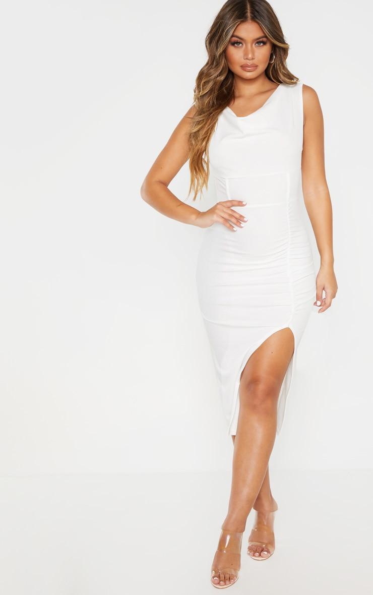 White Ruched Cowl Neck Midi Dress 1