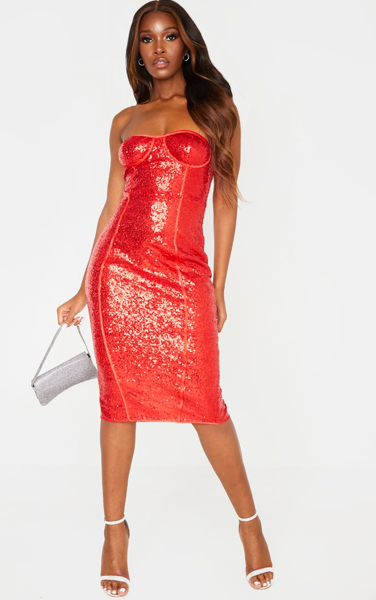 Red Sequin Binding Detail Midi Dress 4