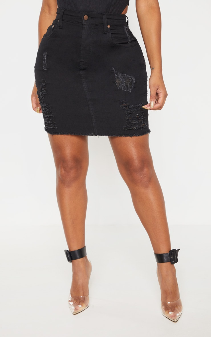 Shape Black High Waist Distressed Denim Skirt 2