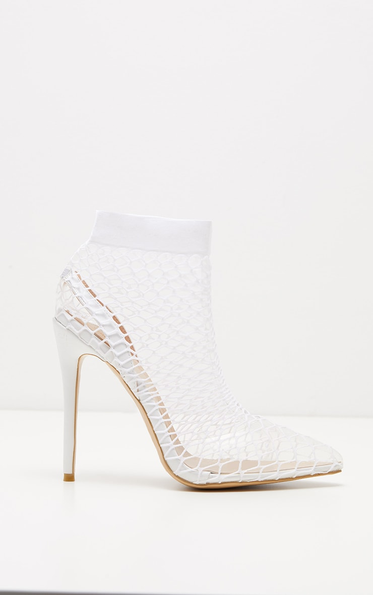 White Fishnet Slingback Pointed Toe Heels 3