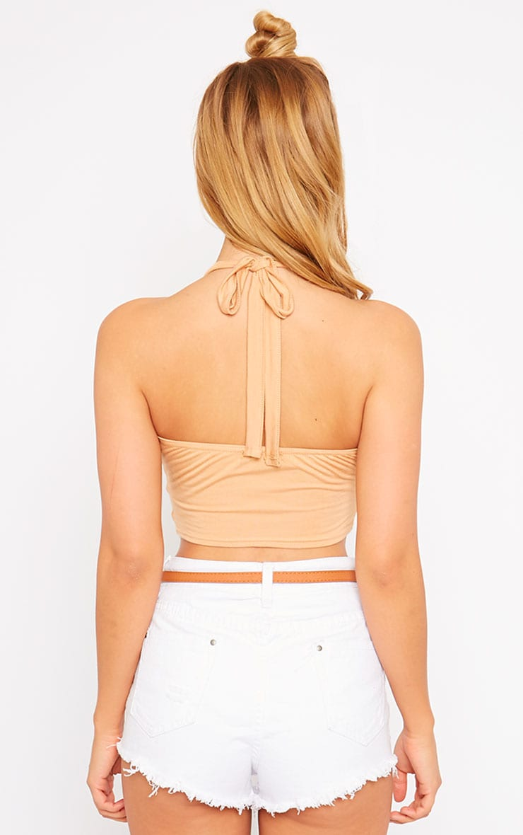 Radella Camel Cut Out Halter Neck Top 2