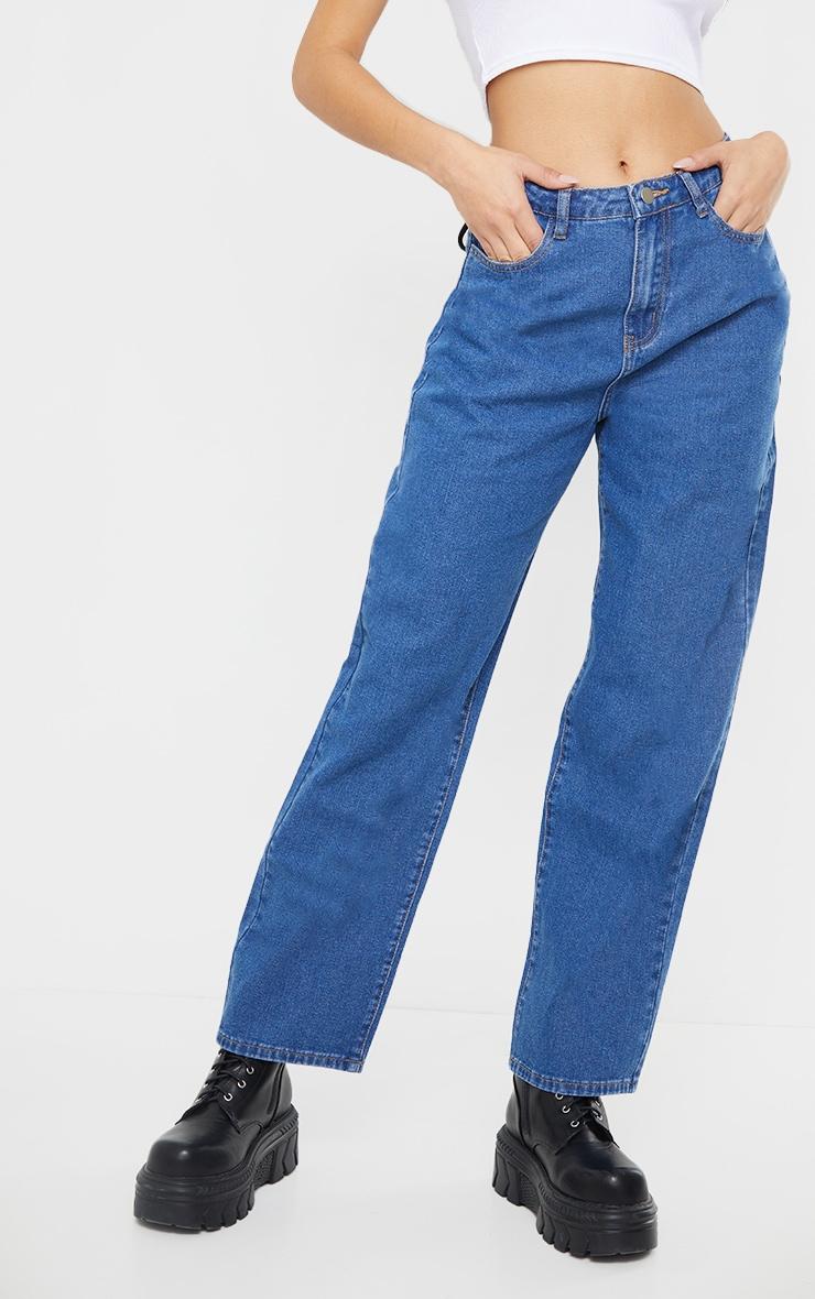 Mid Blue Wash Lace Back Baggy Boyfriend Jeans 2