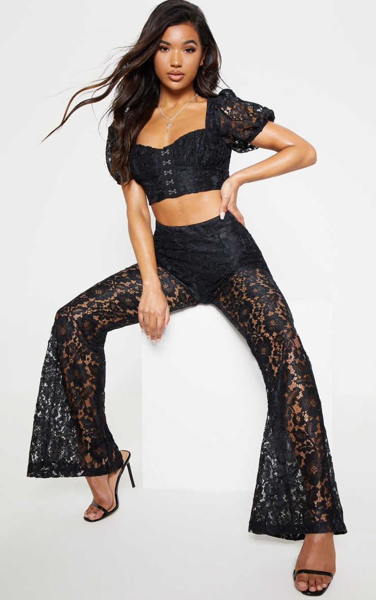 Black Lace Puff Sleeve Hook & Eye Crop Top 5