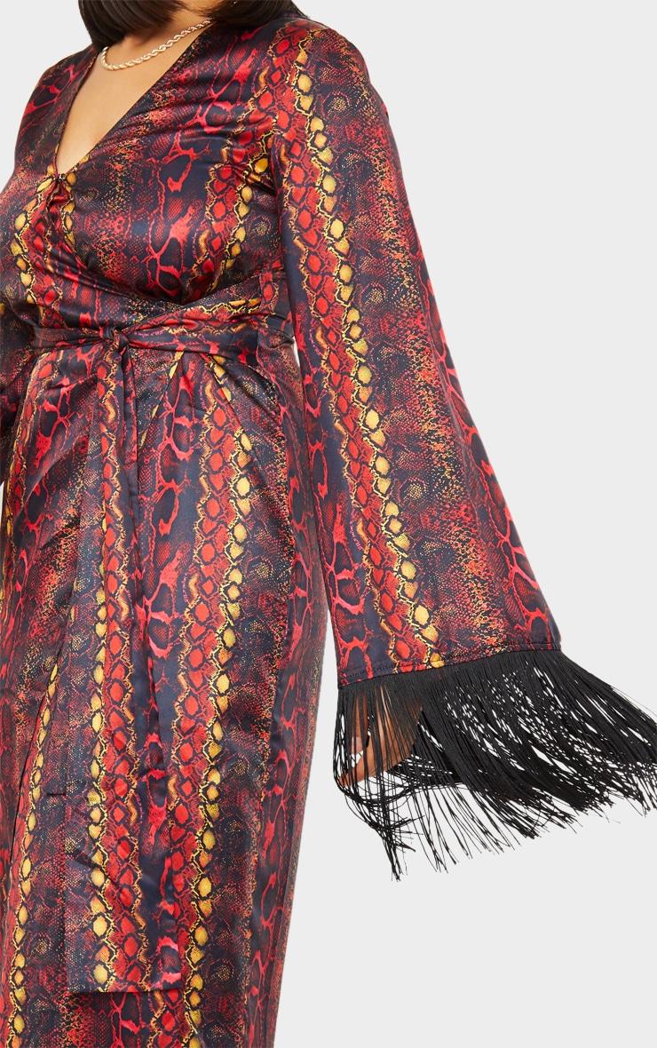Multi Snake Printed Satin Fringe Kimono 4