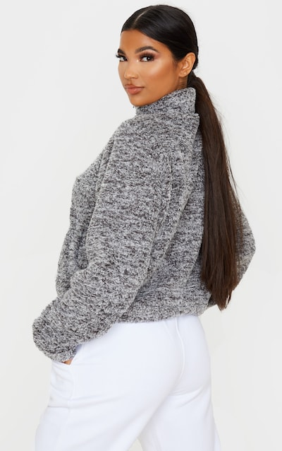Charcoal Grey Borg Zip Pocket Front Sweater