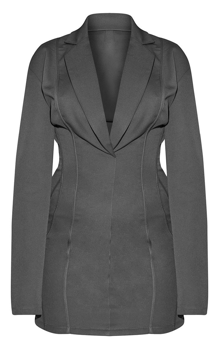 Plus Grey Fitted Seam Blazer Dress 4
