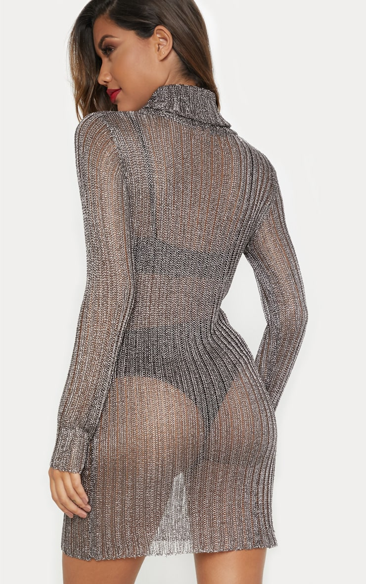 Pewter Roll Neck Metallic Knitted Dress 2