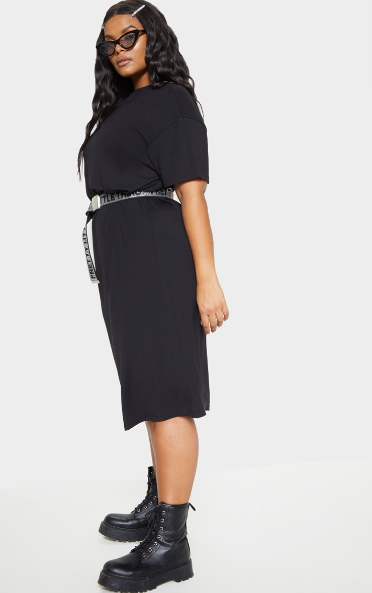 Plus Black Oversized Boxy Midi T Shirt Dress 4