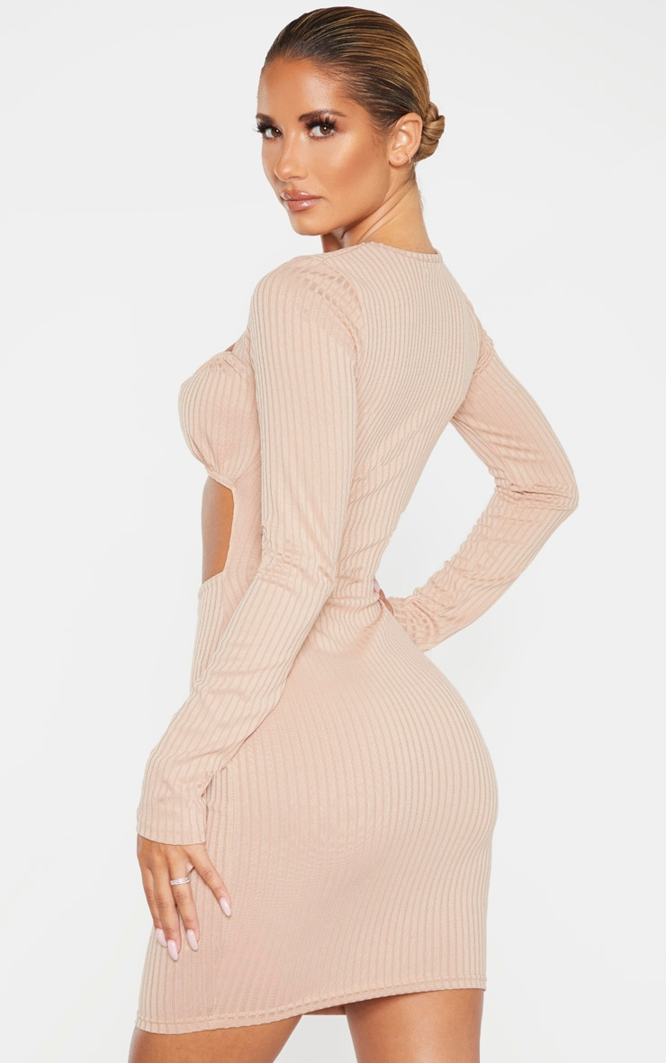 Stone Ribbed Long Sleeve Ruched Bust Bodycon Dress 2