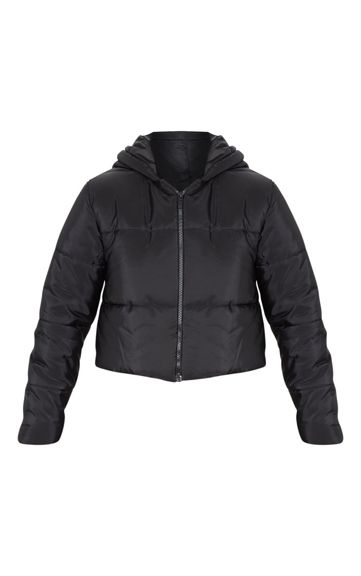 Black Hooded Cropped Puffer 3