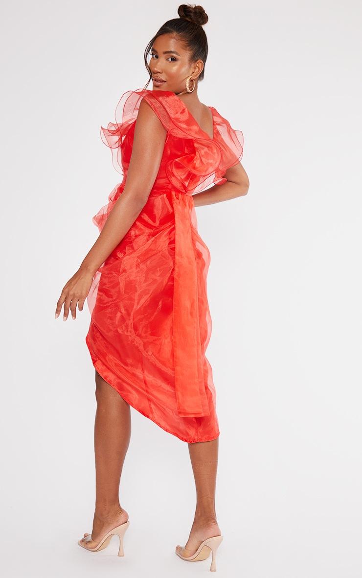 Red Organza Draped Frill Detail Midi Dress 2