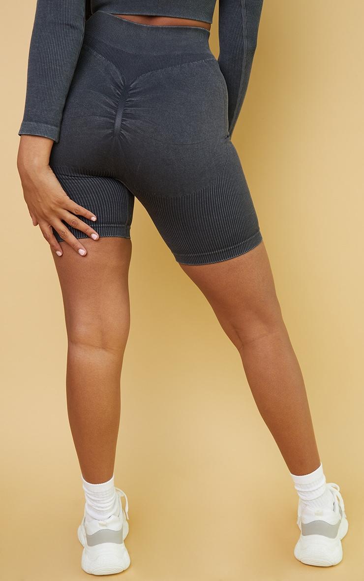 Grey Acid Wash Seamless Ribbed Ruched Bum Booty Shorts 3