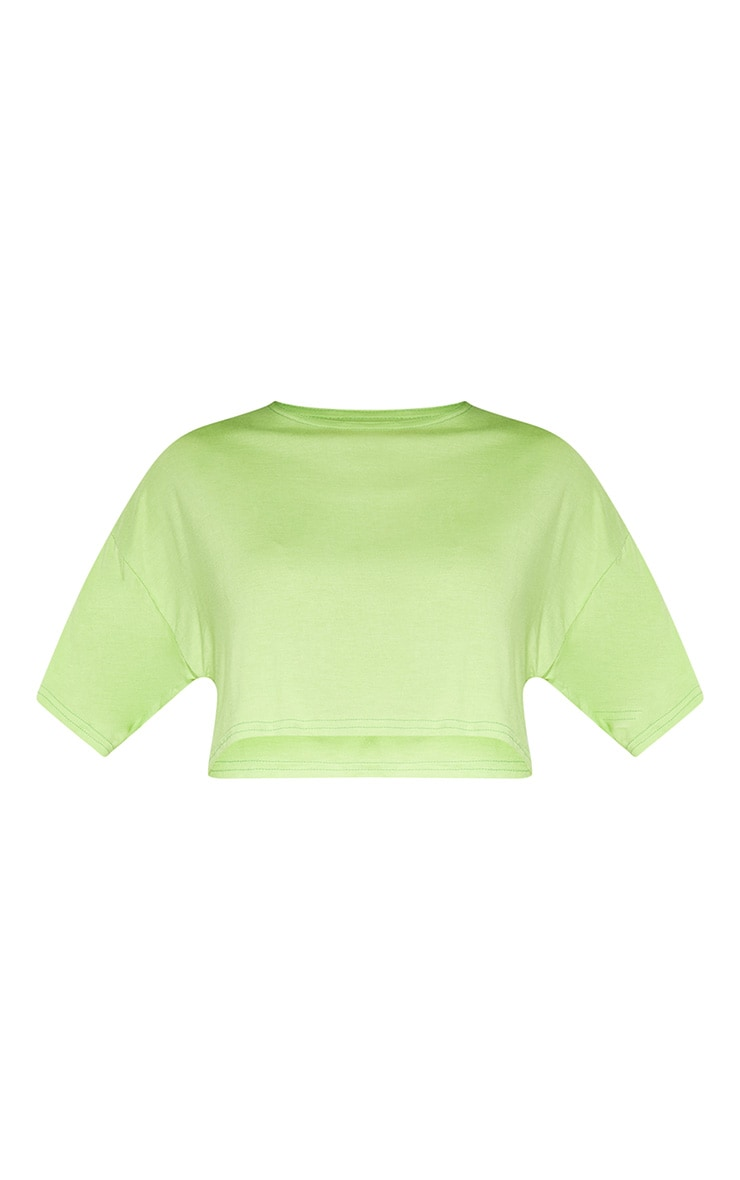 Light Lime Jersey Crop T Shirt 3