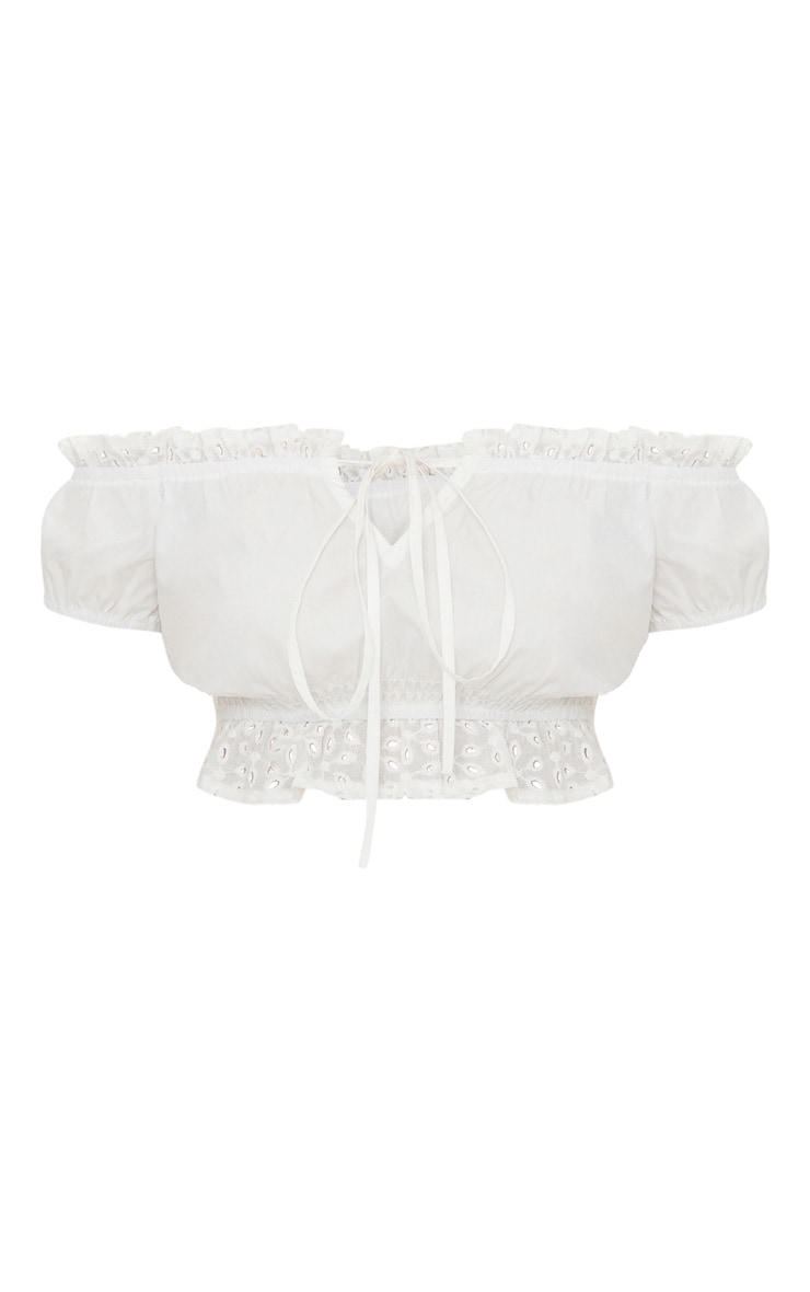 Petite White Broderie Anglaise Detail Bardot Crop Top 3
