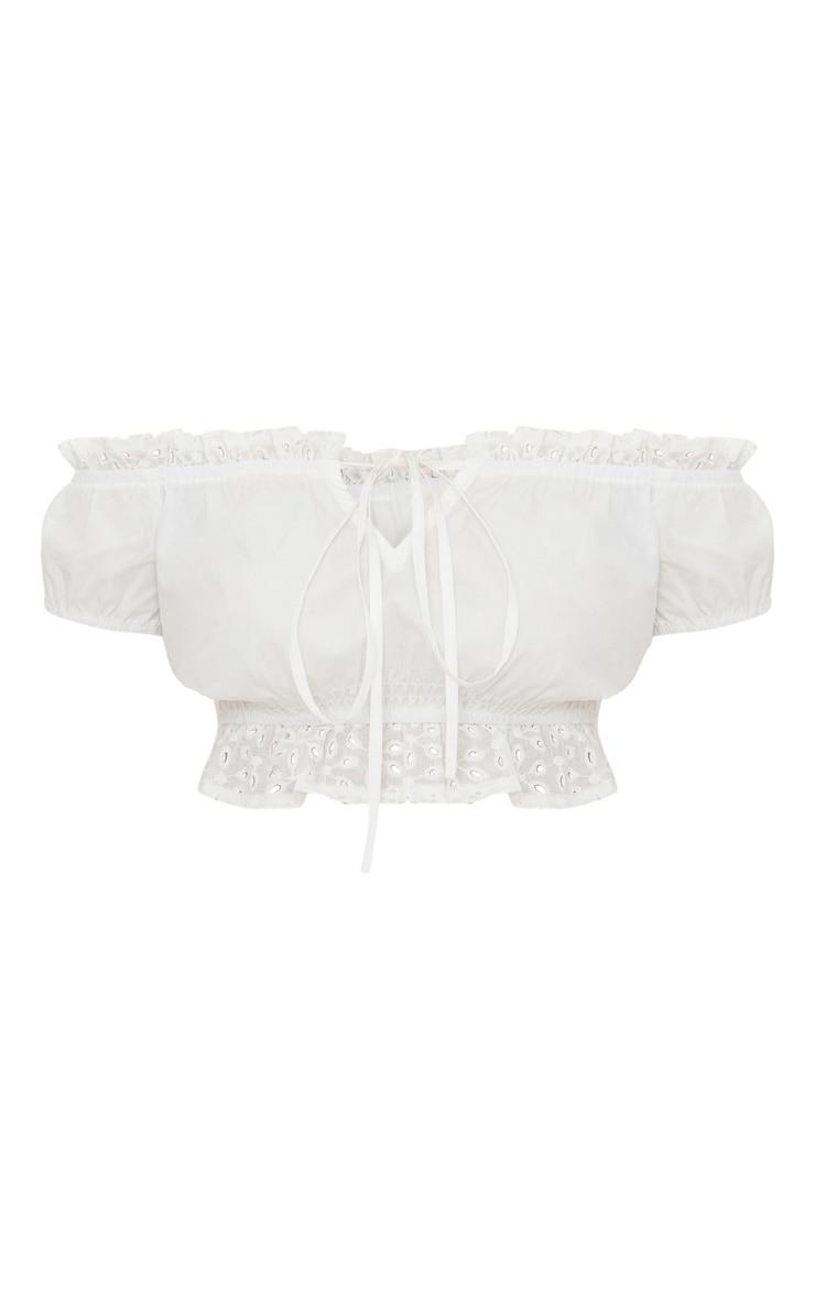 Petite - Crop top blanc avec bandes de broderie anglaise et encolure bardot 3