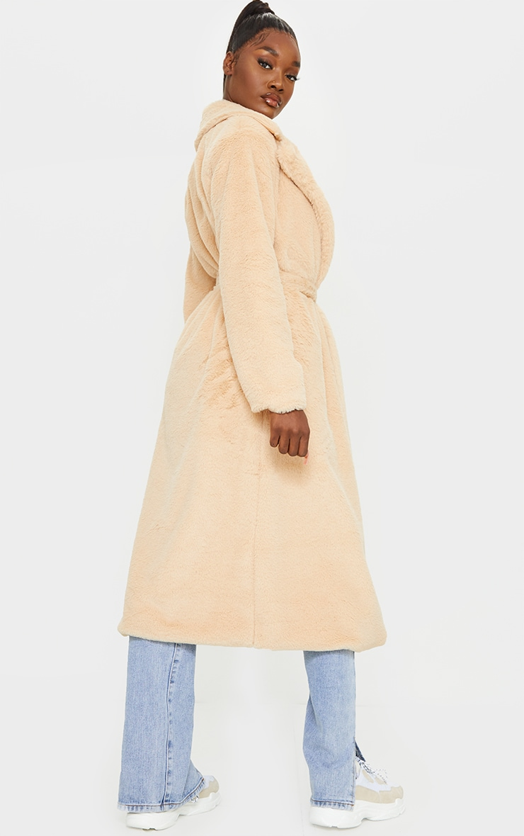 Tall Taupe Belted Faux Fur Coat 2