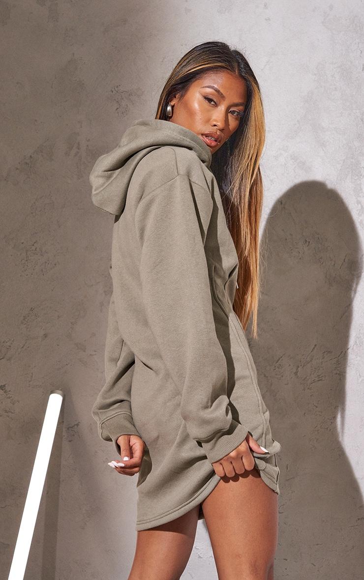 RENEW Light Khaki Pleated Hoodie Sweater Dress 2