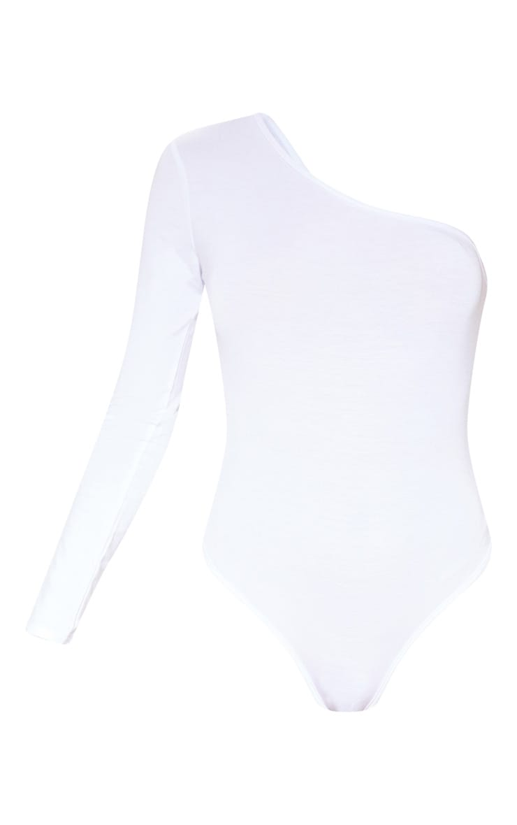 White One Shoulder Jersey Long Sleeve Bodysuit 3