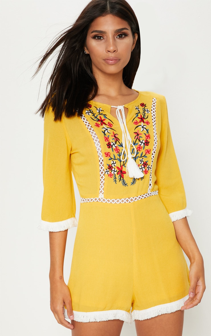 Yellow Embroidered Tassel Playsuit