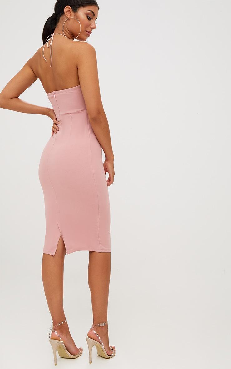 Dusty Pink Lace Side High Neck Midi Dress 2