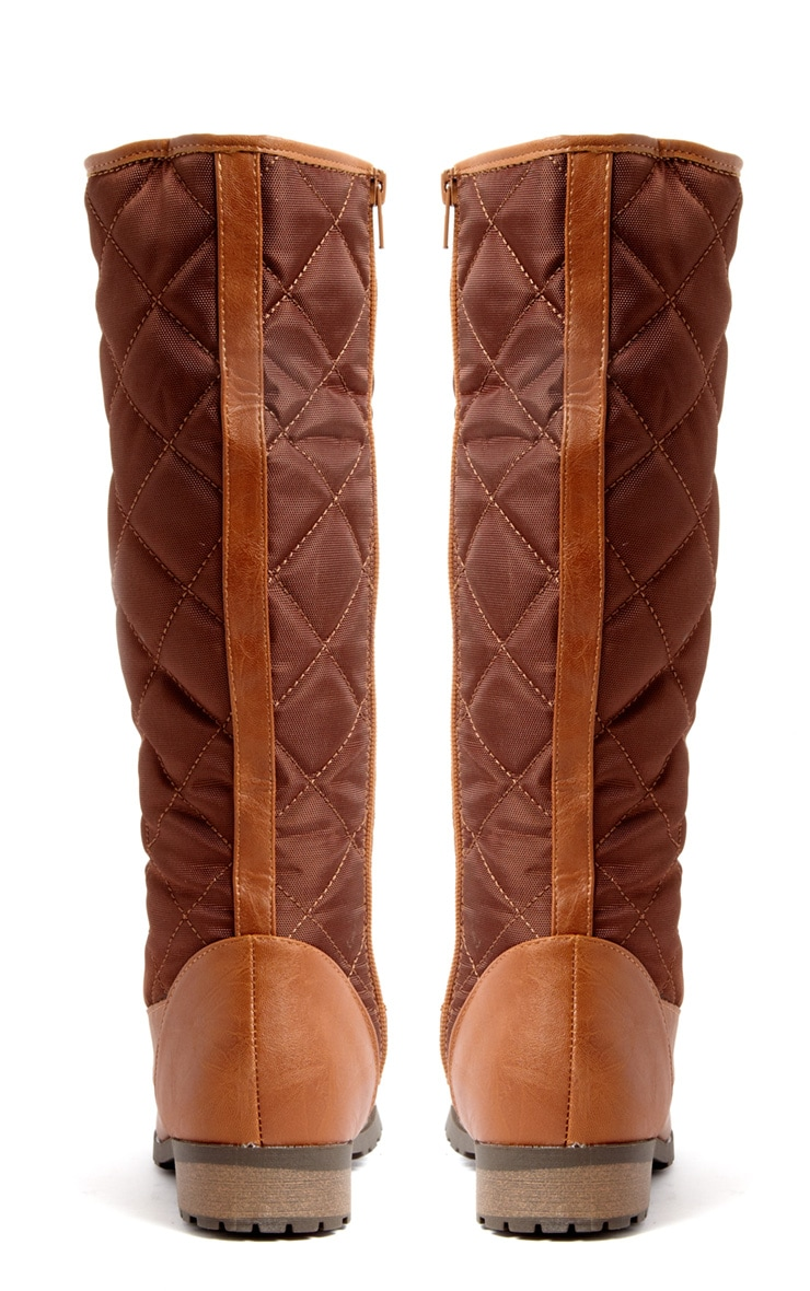 Kasey Tan Quilted Lace Up Boot 3
