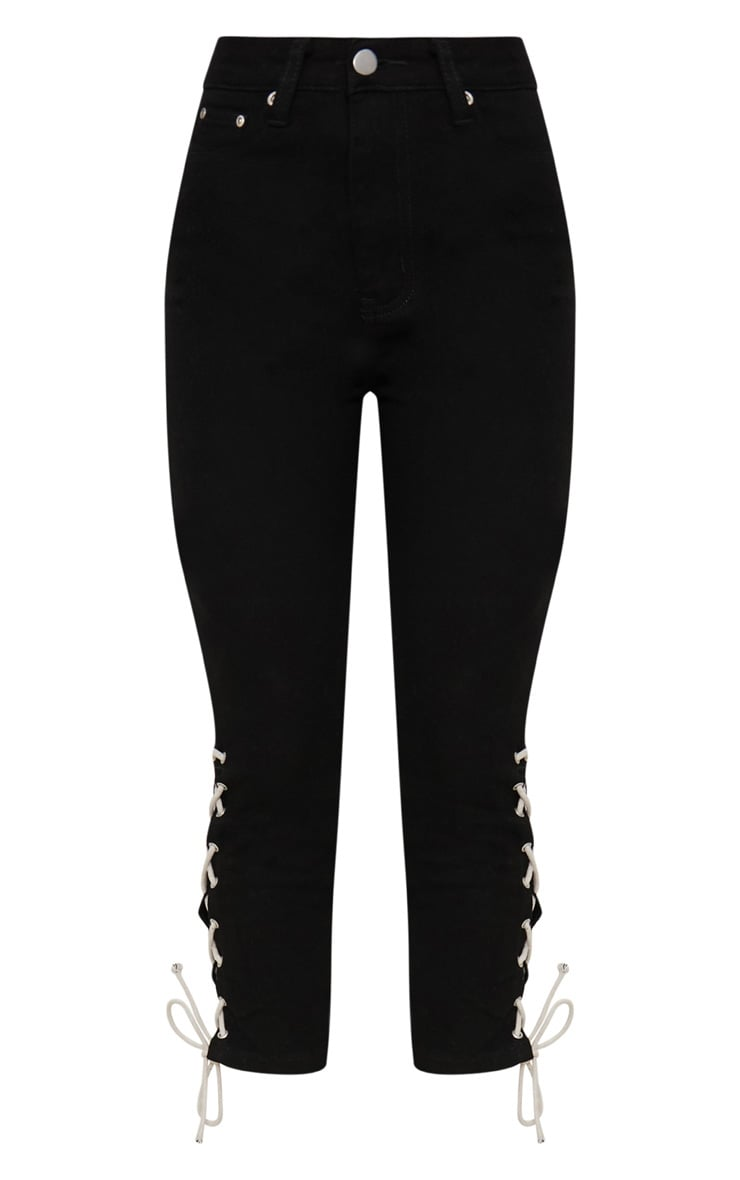 Black Tie Detail Cropped High Waisted Skinny Jean 3