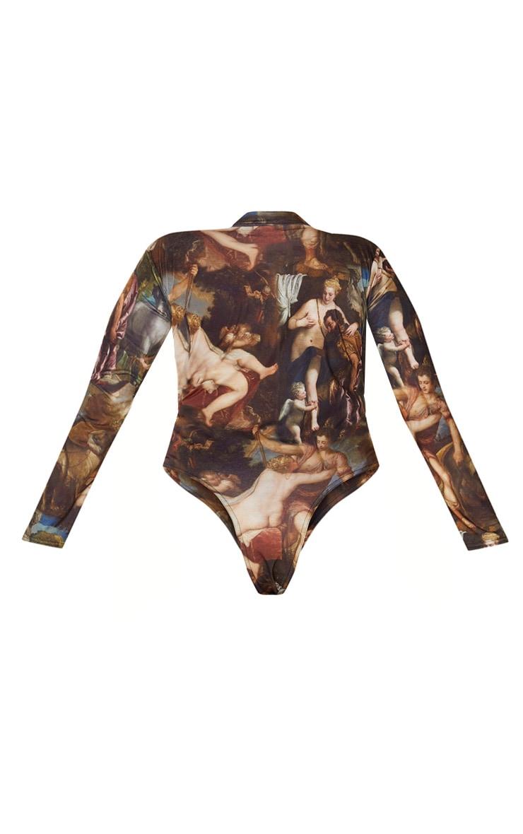 Plus Multi Renaissance Printed High Neck Long Sleeve Bodysuit 4