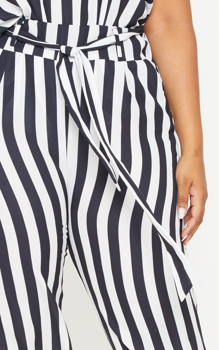 Plus Monochrome Tie Waist Striped Wide Leg Trousers 5