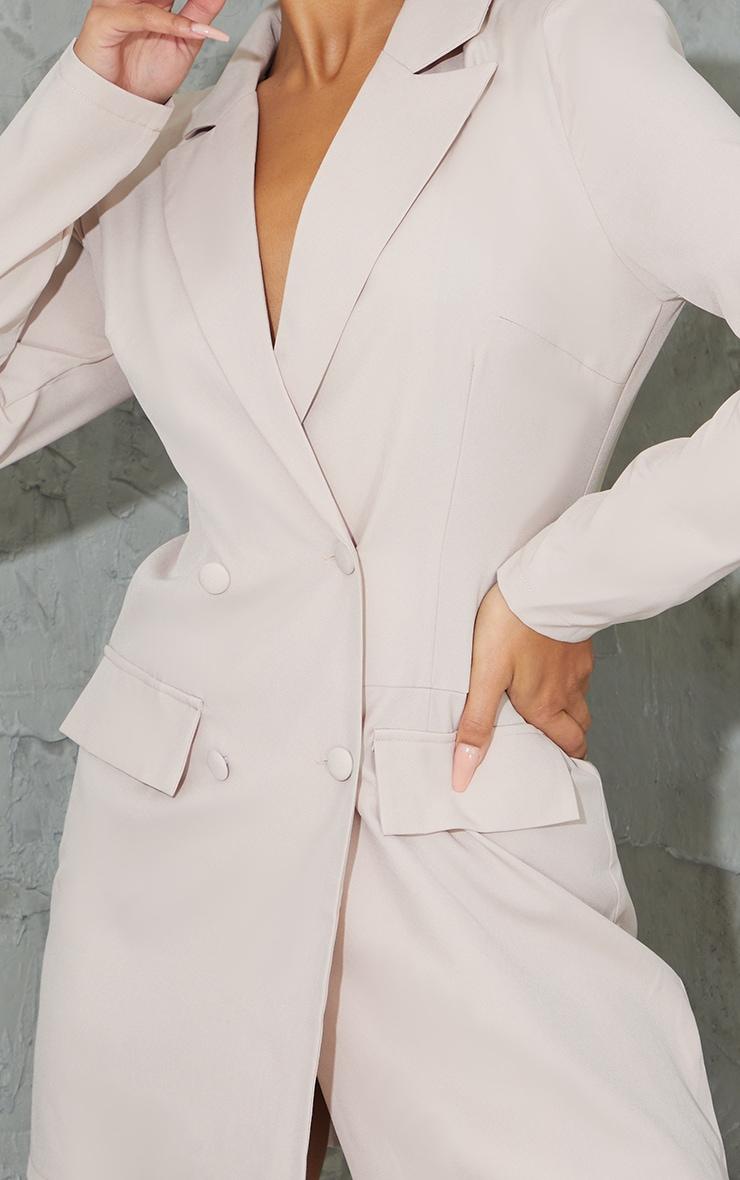 Stone Shoulder Pad Button Blazer Dress 4