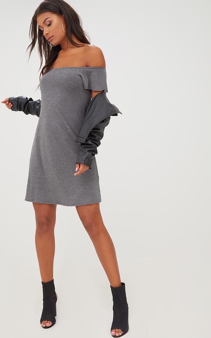 Basic Charcoal Jersey Bardot Shift Dress 4