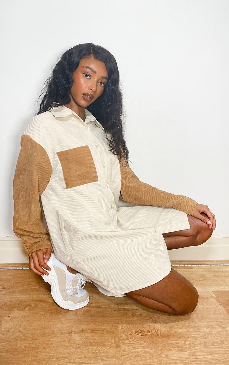 Cream Cord Pocket Front Oversized Shirt Dress 1