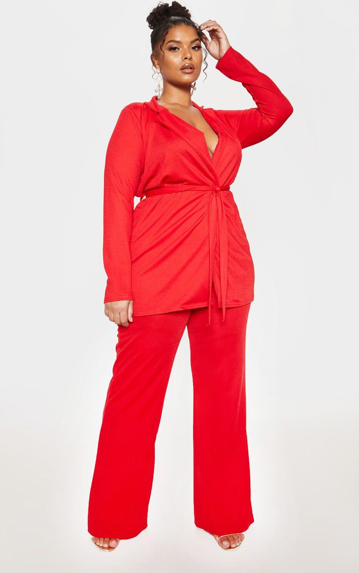 Plus Red Wide Leg Trouser  1
