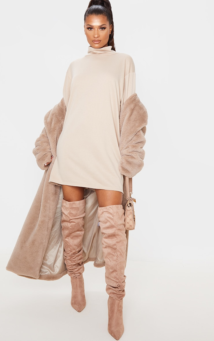 Camel Roll Neck Long Sleeve Oversized Sweater Dress 4