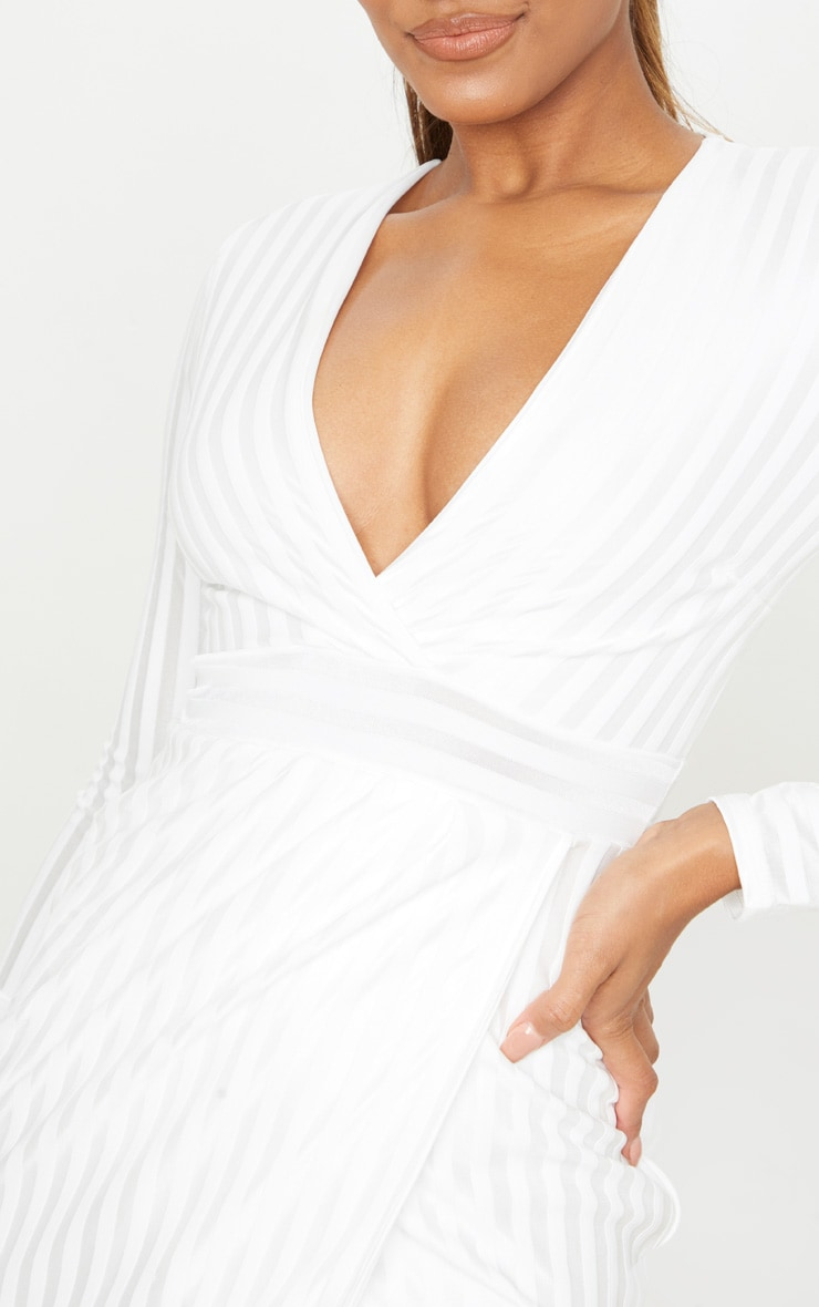 White Satin Stripe Wrap Midi Dress 4